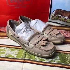 Sperry kiltie leather mesh boat loafer flat shoe